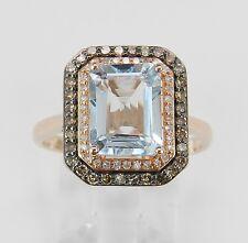 Aquamarine and Cognac Diamond Halo Engagement Ring 14K Rose Gold Size 8