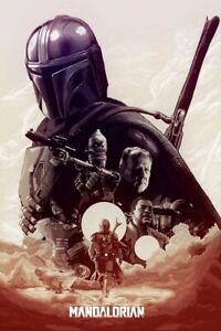 Star Wars The Mandalorian Licensed Artwork Mando IG-11 Cara Dune Greef Karga Art