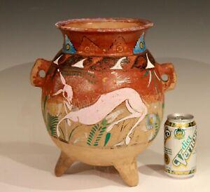Large Vintage Mexican Pottery Olla Pulque Dancing Horse Bowl Jar Vase Jardiniere