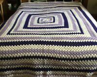 "92"" blanket afghan handmade purple white throw quilt crochet queen king bed"