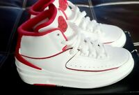 Air Jordan 2 Retro White Black Varsity Red Grade School Youth 395718-102 4.5Y
