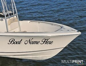 2 X Custom Personalised Boat Name Decals Stickers Graphics, 1000mm x 200mm