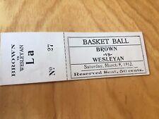 Antique 1912 Brown Bears v Wesleyan College Basketball Full Unused Ticket Vtge