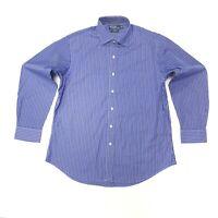 Ralph Lauren Men's Regent Custom Fit Striped Shirt In Blue/Black/White Size 17