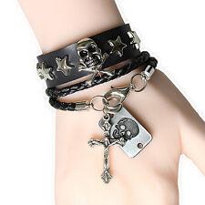Unisex Punk Warp Woven 2 Bracelet Silver Cross Skull Star Black Leather Cuff Set
