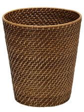 Laguna Handwoven Round Rattan Waste Basket, Dia 10.25 x 11 inch, Honey Brown