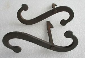 "pair of ANTIQUE IRON ""S"" STYLE SHUTTER DOGS HOLD BACKS"