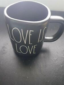 "RAE DUNN ARTISAN COLLECTION BY MAGENTA ""LOVE IS LOVE"" MUG, BLACK, NEW"