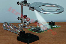 THIRD HAND HELPING CLAMP ELECTRONIC MAGNIFYING SOLDERING GLASS HOLDER MAGNIFIER