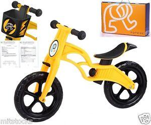 POPBIKE Children Kids Learn Balance Bike 12 EN71 & CE Certified Safety YELLOW