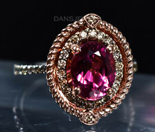 Stunning 14K Halo ROSE Gold Gem Grade Pink Tourmaline & Chocolate Diamond Ring