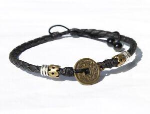 "Women/ Men  Antique Lucky Money Coin Black Genuine Leather Anklet Bracelet 9-14"""