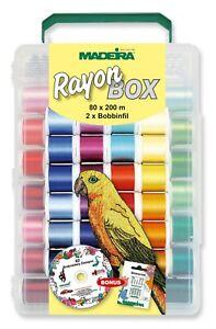 Madeira RAYON Box 200m 8082 Garnkoffer Maschinensticken CD Nadeln - 80 Farben