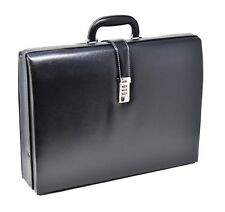 Mens Classic Attache Case Black Leather Look Traditional Briefcase Executive BAG