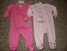 Set of 2 Nwt Preemie 7lbs The Children's Place Footed Sleeper Outfits Rose Kitty