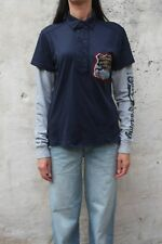 Zu elements Distressed Long Sleeved Blue Grey Polo Top Auth L Large Slim fit VGC