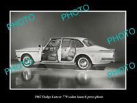 OLD POSTCARD SIZE PHOTO OF 1962 DODGE LANCER 770 LAUNCH PRESS PHOTO