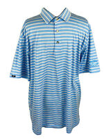 ⛳️Straight Down Mens Golf Polo Shirt Short Sleeve Blue Striped Size XL