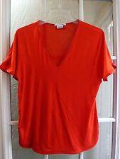 "Lacoste Red V-Neck Viscose&Silk Blend Short Sleeve Shirt Women 38 ""Excellent"""