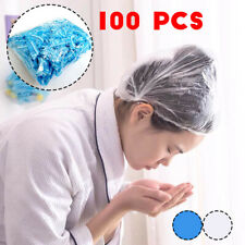 100Pcs Disposable Thickening Large Elastic Shower Bathing Caps White Blue Unisex