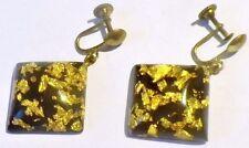 boucles d'oreilles à vis bijou vintage couleur argent pampille paillette or 2534