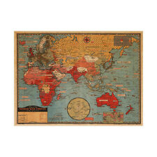Retro World Map Removable Wall Vintage Photo Living Room Decor Mural Wall Paper