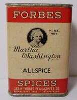 Vintage 1930s MARTHA WASHINGTON DEER GRAPHIC SPICE TIN FORBES COFFEE ST. LOUIS