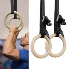 New 1set Wood Gymnastic Ring Olympic Strength Training Gym Rings Wooden Crossfit