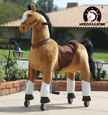 MEDALLION - Ride On Rocking Walking Horse Pony For Kids 5 to 12 Years Old BROWN