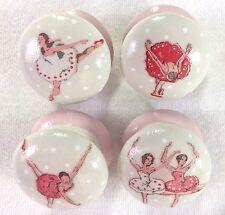 "Handpainted Cath Kidston Ballet Dancers Large Cream & Pink 2"" Drawer Knobs x 4"