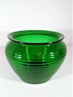 Vintage Emerald Beehive Green Glass Florist Planter/Horizontal Ribs/Collectible