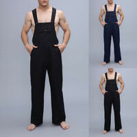 Mens Casual Loose Jumpsuits Rompers Overalls Suspenders Dungarees Loose Trousers