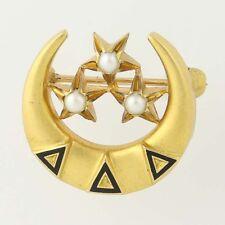 Delta Delta Delta Tri Delta Badge - 14k Gold Pearls Sorority Stars Crescent Pin