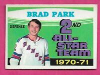 1971-72 OPC # 257 RANGERS BRAD PARK AS EX+ CARD  (INV# C1506)