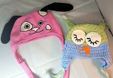 Lot Of 2 baby toddler winter hats Girl one size Puppy Owl Pink Knit Fleece Fall