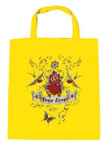 Sac en Coton Tissu Sac Motif Imprimé True Love Cœur Oiseau 09377-2 Jaune