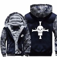 Anime ONE PIECE Cosplay Mens Jacket Hoodie Thicken Camouflage Sleeve Zipper Coat