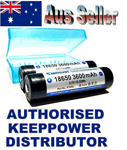 4x KEEPPOWER PROTECTED 3600mAh with18650case Lithium ion RECHARGEABLE Batteries