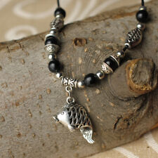 Chinese Miao Silver Hollow Out Fish Carp/Black Stone/Hide Rope Pretty Necklace