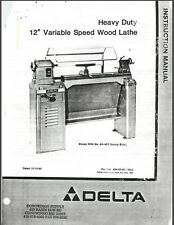 """Delta HD 12"""" Variable Speed Wood Lathe Instructions Manual Parts List PDF"""
