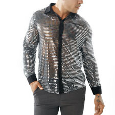Mens dots Glitter Sequins Nightclub Costume dancewear Long Sleeve Shirt Tops