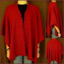Poncho alpaca lana capa Cape ruana perú vintage hippie indio Boho rojo nuevo