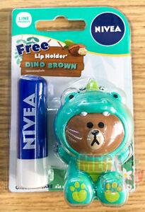 NIVEA Original Care Caring Lip Balm 12hr. Line Friends Dino Brown Holder