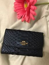 COACH F39114 Python Medium Envelope Wallet in Blue Metallic Denim