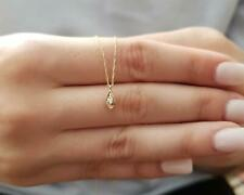 14Kt Oro Genuino Diamante Natural Doble Lado Mal De Ojo Colgante Collar