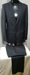 Size 100 L BOSTON mens 2 button wool suit grey business office work