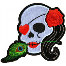 Embroidered Lady Sugar Skull Pink Rose Feather Sew or Iron on Patch Biker Patch