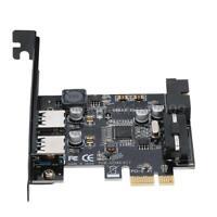 Internal USB 3.0 2 Ports Card Mini PCI-Express Hub Controller Adapter 19-Pin
