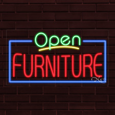 "Brand New ""Open Furniture"" w/Border 37x20X1 Inch Led Flex Indoor Sign 35504"