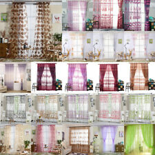 Floral Sheer Embroidered Kitchen Balcony Window Curtain Liftable Roman Blinds
